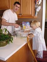 Daddy and Arina making cookies